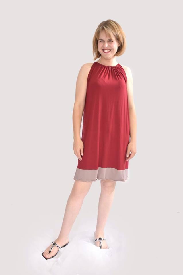 2 Tone Sleeveless Raglan Dress With Border