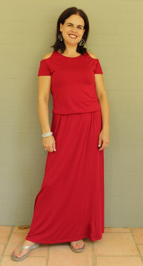 Open Shoulder Short Sleeve Maxi Dress with Elastic Waist